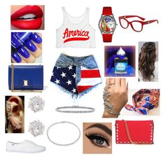 """""""4th of July """" by aryannaaaa on Polyvore featuring Whimsical Watches, Mike Saatji, Dolce&Gabbana, River Island, INZI, Salvatore Ferragamo, Suzanne Kalan and BERRICLE"""