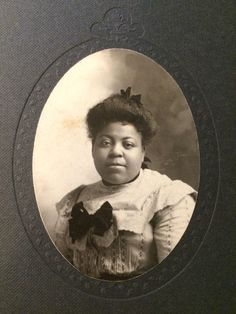 AFRICAN AMERICAN BLACK YOUNG WOMAN GIRL VICTORIAN CABINET CARD PHOTO 1601