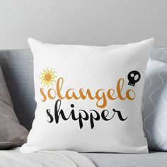 Solangelo Shipper Throw Pillow Percy Jackson Ships, Percy Jackson Fandom, Solangelo, Percabeth, Will Solace, Trials Of Apollo, Book Jewelry, Rick Riordan Books, Uncle Rick