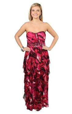 beaded empire waist long prom dress with abstract print