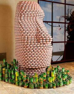 famous art sculpture display from food cans