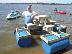 diy floating picnic table, that's Bill he's the president of the redneck yacht club