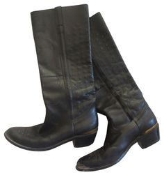 GOLDEN GOOSE TALL BLACK LEATHER COWBOY WESTERN BOOTS  www.fullcirclefashion.com   #GoldenGoose #Boots