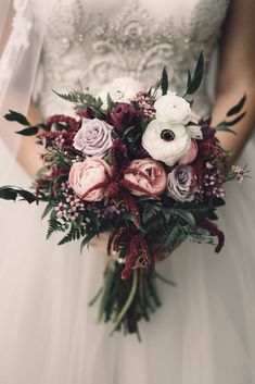 Moody bridal bouquet of fresh roses, peonies, and anemones. Burgundy and blush wedding bouquet. Moody bridal bouquet of fresh roses, peonies, and anemones. Burgundy and blush wedding bouquet. Boquette Wedding, Wedding Flower Guide, Winter Wedding Flowers, Wedding Colors, Winter Weddings, Blue Weddings, Wedding Ideas, Ivory Wedding, November Wedding Flowers