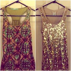 Sequin Tanktop Bundle Says the gold top is large and the green colorful top is a small but they are both the same size! Pictures show the comparison. 18 for both or 10 each Maurices Tops Tank Tops