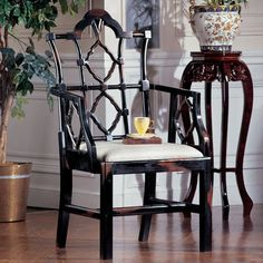 Design Toscano Chinese Chippendale Fabric Arm Chair