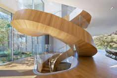 with a freshen has a limited floor area, a spiral staircase would be a fine answer to that problem. Unlike the gratifying staircase design, spiral stairs could endure happening lesser manner and it is usually open. Contemporary Stairs, Modern Stairs, Contemporary Interior, Contemporary Architecture, Spiral Stairs Design, Staircase Design, Stair Design, Wood Staircase, Mansion Interior