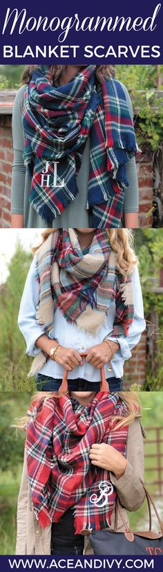 MONOGRAMMED BLANKET SCARVES!  Stop by Ace & Ivy to grab one of falls hottest trends.   www.aceandivy.com  #monograms