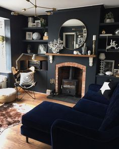 I've just put up my mirror this afternoon I purchased in the sale last week. I think it fills out… Dark Walls Living Room, Navy Living Rooms, New Living Room, Home And Living, Dark Rooms, Living Room Scandinavian, Dark Home Decor, Lounge Decor, Dark Interiors