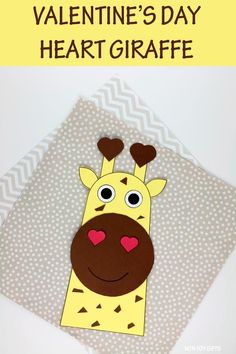 Valentine's Day heart giraffe craft for preschoolers, kindergartners and older kids. Easy paper giraffe craft for a zoo animal or jungle animal unit for February #heartgiraffecraft #heartgiraffe #giraffecraft #giraffecraftforkids Valentine Crafts For Kids, Valentines Day Hearts, Crafts For Kids To Make, Valentines Diy, Giraffe Crafts, Animal Crafts, Bug Crafts, Preschool Crafts, Non Toy Gifts