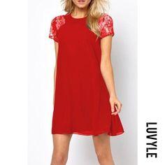 Luvyle - Luvyle Round Neck Patchwork Back Hole Plain Casual Dresses - AdoreWe.com