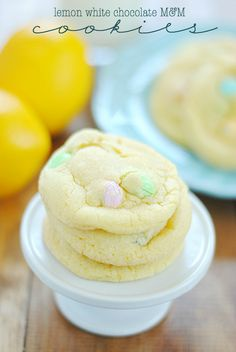 Lemon White Chocolate M&M Cookies by @Something Swanky