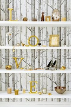 Loving the Cole and Son birch wallpaper and the gold accessories contrasted with it. Wood Wallpaper, Wallpaper Decor, Tree Silhouette Wallpaper, Renting Decorating, Dream Home Design, House Design, Yellow Bedrooms, Conservatory Decor, Stairway Walls