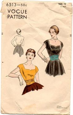 1950s Vogue Blouse & Cummerbund Pattern ~ Wide Sweetheart Neckline ~ Dart Fitted Waist ~ Stylish Cummerbund ~ Evening Top - Vintage 50s by VivsVintageSewShop on Etsy