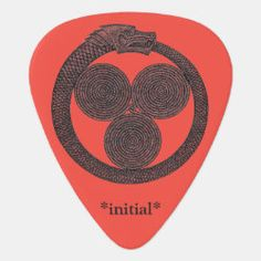 Customizable Guitar Pick OUROBOROS w/SPIRALS red Irish Celtic, Dragon Slayer, Greek Art, Guitar Picks, Spirals, Initials, Symbols, Future, Stone