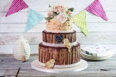 Beautiful Rustic Wedding Cake by Karen Davies Sugarcraft. Rustic Woodland Bark Mould - Karen Davies Sugarcraft.  Love Birds Mould - Karen Davies Sugarcraft.  Rustic Wicker Mould - Karen Davies Sugarcraft.