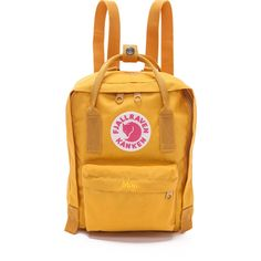Fjallraven Kanken Mini Backpack (91 AUD) ❤ liked on Polyvore featuring bags, backpacks, accessories, clothes - bags, ochre, miniature backpack, mini zipper bags, fjallraven bag, mini zip bags and logo bags