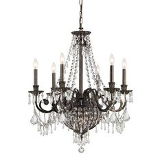 "Crystorama Lighting Group 5166-CL-MWP Vanderbilt 9 Light 27"" Wide Wrought Iron Candle Style Chandelier with Clear Hand Cut Crystal Image"