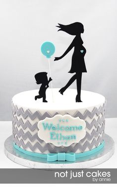 Chevron baby shower cake - love grays and blues