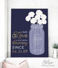 Navy and Gold Sign with Quote  Our Love Has by MissDesignBerryInc