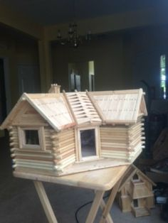 Popsicle Stick Log Cabin Designs | Hand made wood house in popsicle sticks/ LOG CABINS | Hampton virginia ...