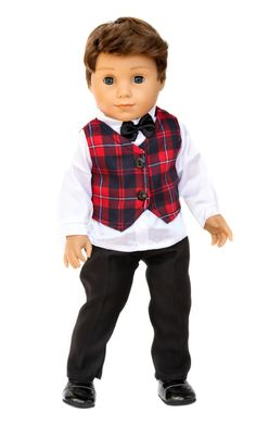 Doll Clothes for American Boy Doll - Scottish Vest, Shirt, Pants & Shoes