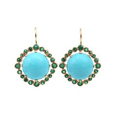 Cabochon Turquoise and Emerald Earrings | ANDREA FOHRMAN