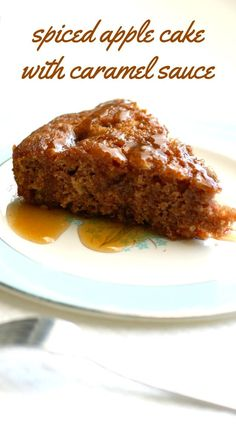 A moist and flavorful vegan cake recipe - spiced apple cake with a sweet caramel sauce on top.