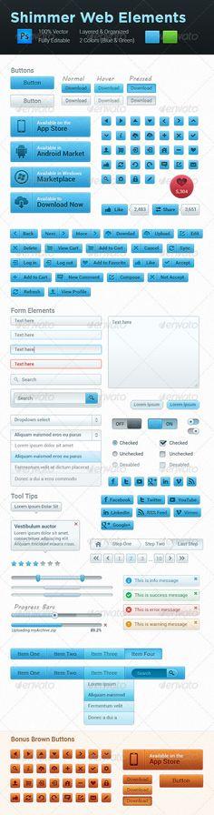 """Shimmer Clean Web Elements"" Clean, Professional UI Set. $6"
