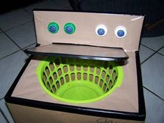 "DIY washing machine for kids! SO clever! :-) Use a big box to make washer; make circle a little smaller than rim of laundry basket. Kids can put their dirty socks, etc. in their own ""washer"" to be washed! Cute idea! or little girl with baby doll clothes"