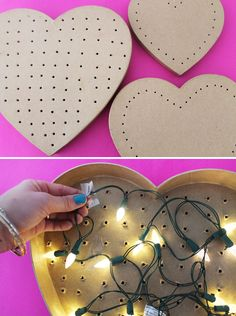 Heart Marquee Light - but I would paint or cover cardboard heart box and thread battery operated LED light through the holes