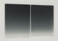 Black Diptych, 2011, Polyester Resin, two panels each 26 x 21""