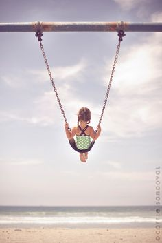 Every child/adult needs a swing in front of the beach!  Ahem...me, me, me!!  I want a swing on the beach!