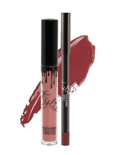 """One of Kylie Cosmetic's most-requested """"bring back"""" shades! Angel Liquid Lipstick Lip Kit is your secret weapon to create the perfect 'Kylie Lip.' Each Lip Kit comes with a Matte Liquid Lipstick and matching Lip Liner. Angel is a mauvy pink. Kylie Jenner Liquid Lipstick, Kylie Jenner Lips, Kylie Lips, Kylie Lip Kit, Kendall Jenner, Kylie Makeup, Dupe Makeup, Eyeshadow Dupes, Jenner Makeup"""