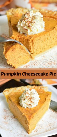 This PUMPKIN CHEESECAKE PIE is a combination of a classic pumpkin pie with silky., PUMPKIN CHEESECAKE PIE is a combination of a classic pumpkin pie with silky creaminess of a cheesecake. This easy dessert is perfect to serve at . Homemade Pumpkin Pie, Pumpkin Pie Recipes, Simple Pumpkin Pie Recipe, Pumkin Pie Easy, Perfect Pumpkin Pie, Pumpkin Tarts, Pumpkin Cheese Cake Recipe Easy, Pumpkin Pie Crust Recipe, Homemade Pies
