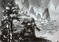 disney concepts & stuff - Visual Development from Mulan by Alex Nino Black White Art, Black And White Drawing, Disney Concept Art, Disney Art, Storyboard, Animation News, Bg Design, Layout Design, Cities