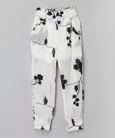This Leighton Alexander White Floral Sheer Pants - Toddler & Girls by Leighton Alexander is perfect! #zulilyfinds