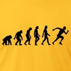 Artpolitic, Mandapeno, evolution, Darwin, darwinisme, udvikler sig, homo Sapien, human, abe, løb, jogging, cool, sjov, stilfuld, CoolT-shirts, guldgul.