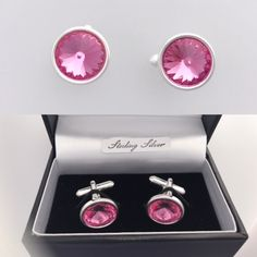 These stunning cufflinks are handmade with 925 Sterling Silver & Rose Pink Swarovski Crystals.  Pink Tourmaline is the birthstone for October although many colours also available, these make perfect gifts for birthdays, anniversary's and wedding accessories.  Crystals are the chosen gifts for 15 year wedding anniversary.  Matching earrings and necklaces make great bridesmaids gifts/accessories to match our wedding theme. 15 Year Wedding Anniversary, Anniversary Gifts, Silver Roses, Pink Roses, October Birth Stone, Pink Tourmaline, Handmade Wedding, Wedding Accessories, Birthstones