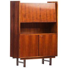 Rosewood Mid-Century Modern Rosewood High Cabinet Modern China Cabinet, Modern Cabinets, Wood Cabinets, Metal Lattice, Open Bookcase, Wall Desk, Scandinavian Modern, Mid-century Modern, Mid Century