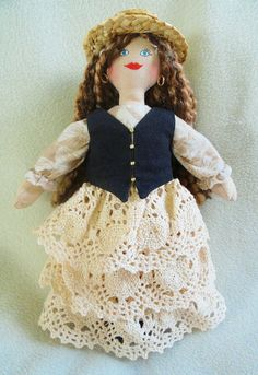 Pretty Girl Doll in Fancy Lace Dress  OOAK Doll by JoellesDolls