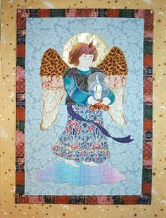 Archangel Michael x art quilt - The Divine Protector - embellished with cotton and metallic fabrics, Sulky variegated threads, and lamé halo, quilted with Sliver Sulky thread. Applique Quilt Patterns, Archangel Michael, Angel Art, Halo, Metallic, Fabrics, Cotton, Painting, Tejidos
