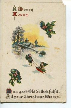 $1.99 Antique 1915 Christmas Embossed Postcard A Merry Christmas Snow Village Children #Christmas