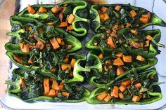 Sweet Potato and Kale Stuffed Poblanos