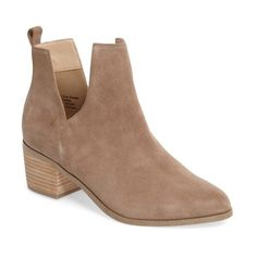 Women's Sole Society Madrid Bootie ($100) ❤ liked on Polyvore featuring shoes, boots, ankle booties, sand suede, bootie boots, suede ankle booties, block heel ankle boots, pointed toe bootie and ankle boots