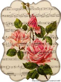 Ideas vintage flowers decoupage scrapbooking for 2020 Floral Vintage, Vintage Diy, Vintage Labels, Vintage Ephemera, Vintage Cards, Vintage Paper, Vintage Flowers, Vintage Prints, Vintage Music