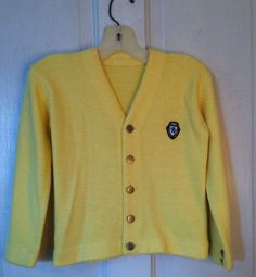 Cardigan Yellow Button Front Boy Girl Preppy by MissingHeirloom