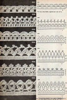 Tina s handicraft 128 designs patterns for trimmings – Artofit Crochet Border Patterns, Crochet Boarders, Crochet Lace Edging, Crochet Motifs, Crochet Chart, Lace Patterns, Thread Crochet, Crochet Trim, Filet Crochet