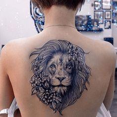 Beautiful Blue Color Lion Tattoos on Back Body Leo Tattoos, Badass Tattoos, Back Tattoos, Animal Tattoos, Cute Tattoos, Flower Tattoos, Body Art Tattoos, Sleeve Tattoos, Tattos