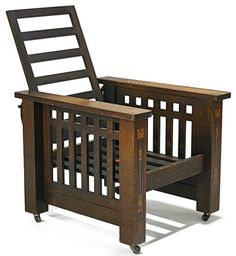 Furniture: Chair-Morris; Arts & Crafts, Shop of the Crafters, Slat Back & Sides, Flat Arms.